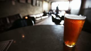 Copy space: pint of beer in London bar