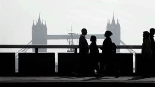 London Tower Bridge rush hour commuters