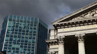 Ominous clouds over the Royal Exchange, London