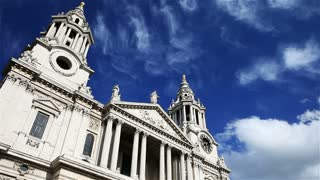St. Paul's Cathedral, London with time lapse clouds