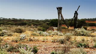 Views of an abandoned gold mine in the Australian outback desert.