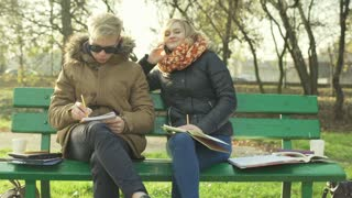 Boy doing homework and girl chatting on cellphone in the park