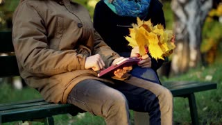 Boy using tablet and girl holding bunch on maple leaves in the park