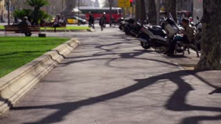 businessman running to work along the street, slow motion shot at 240fps