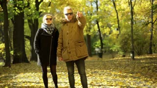 Couple standing in the autumnal park and looking on something