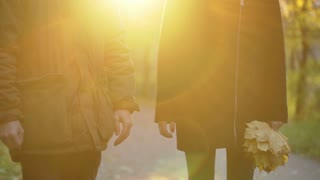 Couple walking on pathway and holding each other hands