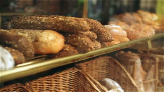 Fresh bread in bakery, steadycam shot