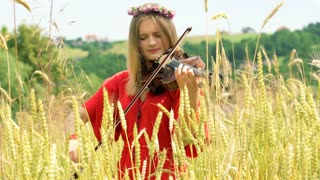 Girl wearing wreath of flowers and playing on violin on the grain field