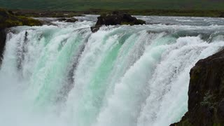 Godafoss: one of the most spectacular waterfall on Iceland, steady, slow motion