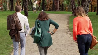 Group of friends walking in the park, steadycam shot