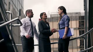 Happy businesspeople concluding an agreement and shaking hands