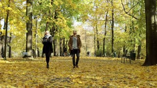 Insulted couple walking in the park and not talking