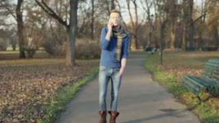 Man walking on the pathway in the park and having an argument, steadycam shot