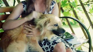 Pretty girl playing with dog in the arbor, steadycam shot