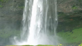 Seljalandsfoss waterfall, one of the biggest waterfalls in Iceland, timelapse