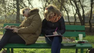 Students doing homework in the park and chatting with each other