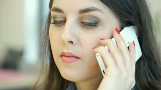 Attractive businesswoman talking on cellphone and doing serious look to the came
