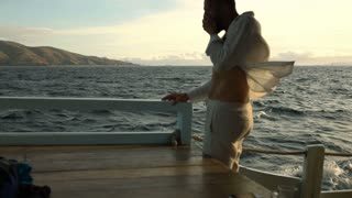 Man having seasickness while sailing on the boat, slow motion shot at 240fps, st