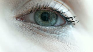 View of girl's beautiful blue eye, close up