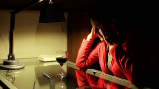 Woman having headache and feel discomfort.