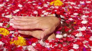 Woman massage hands in bath full of flowers, slow motion shot at 240fps