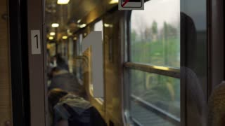 Woman traveling by train and smiling to the camera, steadycam shot