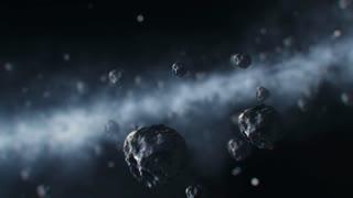 3D animation of asteroids flying through solar system towards the camera