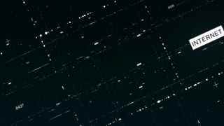 Abstract CGI motion graphics and animated background with moving grid through black space. Concept of Internet connections and global network