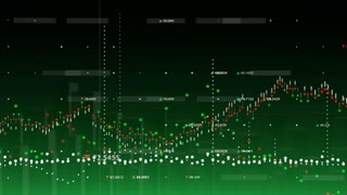 Animated financial graph with figures and moving marks showing economic growth and decline on green background