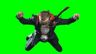 Businessman escaping crisis in business literally jumping off with parachute, shot of man in formalwear and aviator goggles flying in mid air, chroma key against green screen background