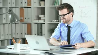 Close up of employee happy with work finished and losing his temper when his boss brings some more paperwork