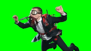 Concept of taking risks in business, worried man with parachute wearing formal suit and aviator mask in free fall looking down and moving up out of frame, chroma key green screen background