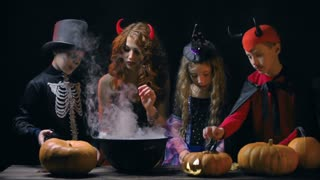 Devil woman teaching little evil characters to cook magic potion