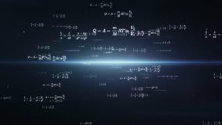 Digitally animated mathematics and physics formulas flying through dark virtual space