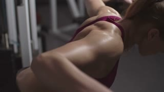 Fitness girl performing dumbbell bent-over raise in the gym in slow motion