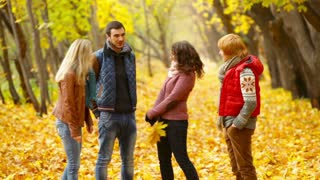 Four friends hanging out together in a picturesque autumn park