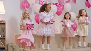 Four little girls dressed like princesses jumping on sofa decorated with balloons and holding gift boxes in slow motion