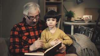 Grandfather showing his cute grandson book illustrations and telling a story