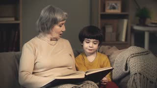Grandmother reading a book to her lovely little grandson