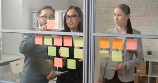 Group of young Asian business people standing behind office glass wall, creating ideas for business growth and writing the, down on sticky notes