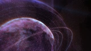 Holographic animation of Earth planet with orbits around it rotating and glowing in dark universe
