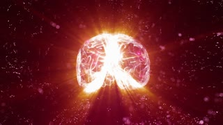 Holographic human brain rotating in virtual space with light shining from its center
