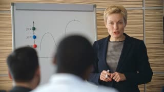 Mid-adult businesswoman explaining line graph on the flipchart to her colleagues and answering their questions