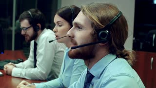 Professional staff working at a call center