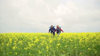Slow motion of heterosexual couple running in the meadow holding hands, approaching camera and passing it by