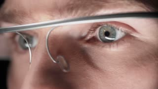 Truck left and right along male eyes in google glass