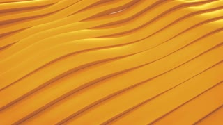 3D animation of yellow surface made of waving lines, loopable abstract motion background
