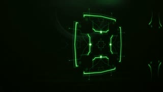 3D motion graphics animation of futuristic symmetrical pattern on illuminated green dots and lines forming shapes and appearing in dark digital space; sci-fi looking circuit board