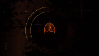 Animated background with human lungs rotating in virtual interface against yellow background. Program scanning and analyzing organ