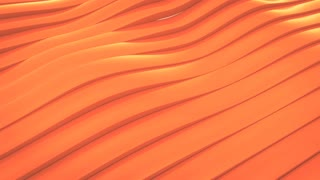 CGI 3D animation of orange surface made of waving lines, loopable abstract motion background